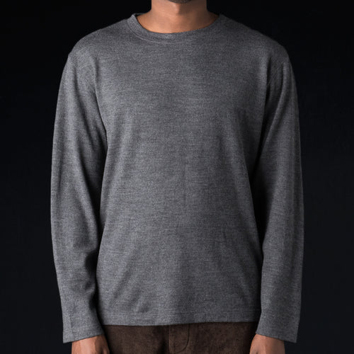 Washable Milled Wool Jersey Crew Neck Shirt in Grey