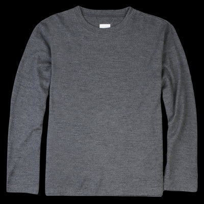 Ts(S) - Washable Milled Wool Jersey Crew Neck Shirt in Grey