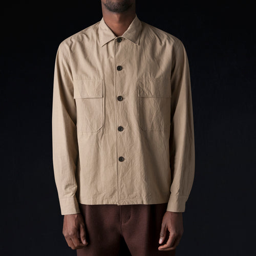 Fx Poplin Officer's Shirt in Brown