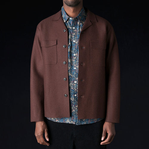 Shrink Wool Shirt Jacket in Brown