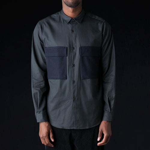 Ht Gabardine Wool D Pocket Shirt in Navy