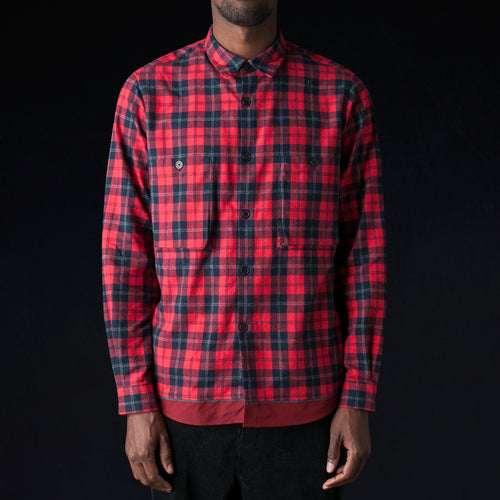 Shaggy Check Hem Sealing Shirt in Red