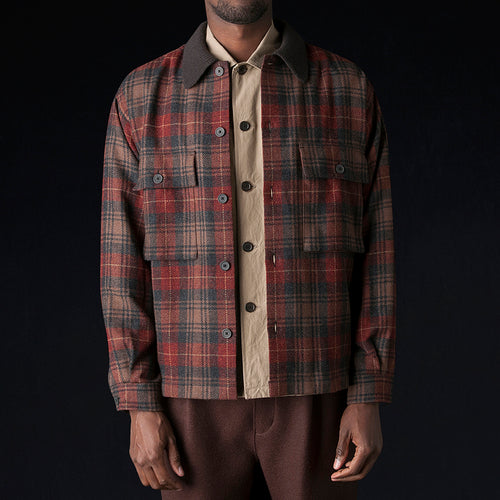 Mix Tweed Blouson Shirt in Brown
