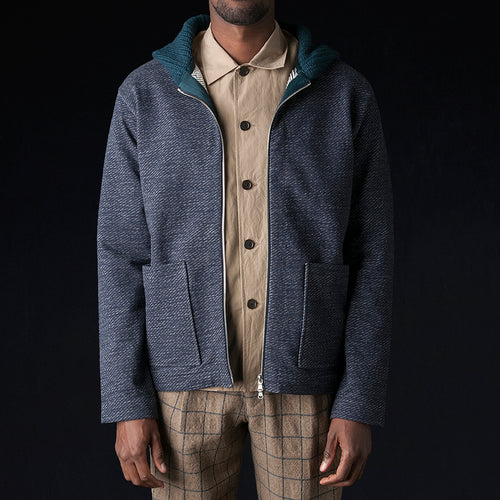 Bias Fleece Hooded Knit Cardigan in Navy