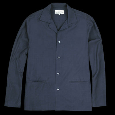 Studio Nicholson - Calico Fluid Camp Collar Box Shirt in Dark Navy