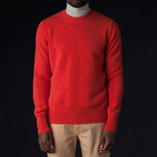 Sorello English Lambswool Five Gauge Crew Neck in Tomato Melange