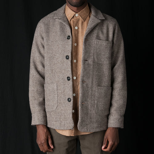 Overshirt Notch Wool Linen Structure in Sand
