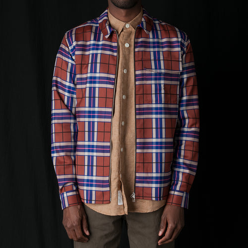 Zipshirt Virgin Wool Large Check in Pink & Rust