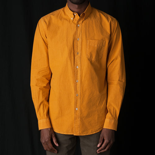 Shirt Poplin Garment Dyed in Mustard