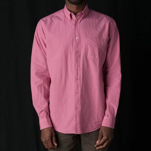 Shirt Poplin Garment Dyed in Pink