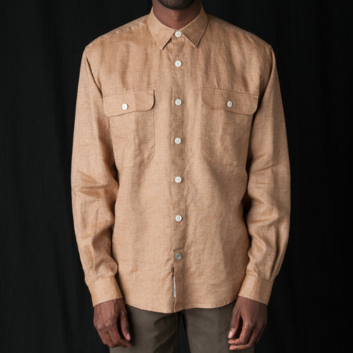 Shirt Linen Oversized in Brown