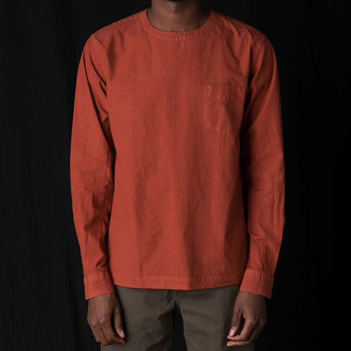 T-shirt Poplin Garment Dyed Long Sleeved in Rust