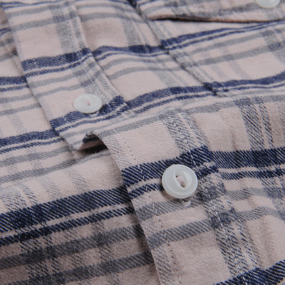 Save Khaki - Plaid Flannel Work Shirt in Tea