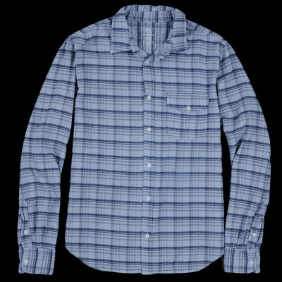 Save Khaki - Plaid Flannel Work Shirt in Storm