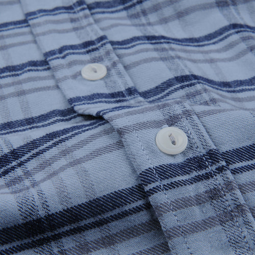 Plaid Flannel Work Shirt in Storm