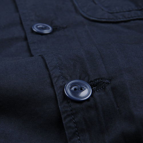 Supima Fleece Lined Shirt Jacket in Navy