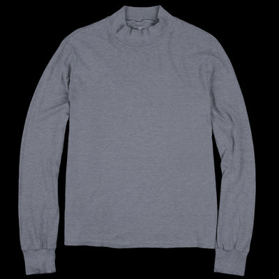 Save Khaki - Long Sleeve Heather Jersey Mock Neck Tee in Heather Grey