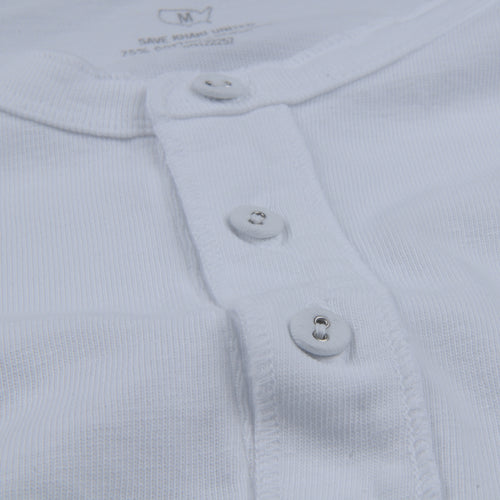 Cotton Hemp Henley in White