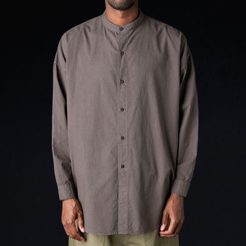 Mei No Collar Shirt in Faded Black