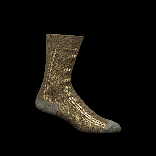 176 Yarns Cable Knit Socks (Foil Print) in Khaki