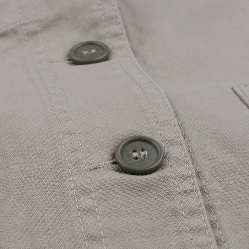 Washed Dungaree Twill Workwear Jacket in Beige Overdyed Rigging