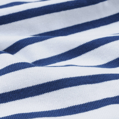Stripe Long Sleeve Tee in White & Ultramarine