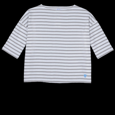 Orcival - Oversize Stripe Long Sleeve Tee in White & Cloud