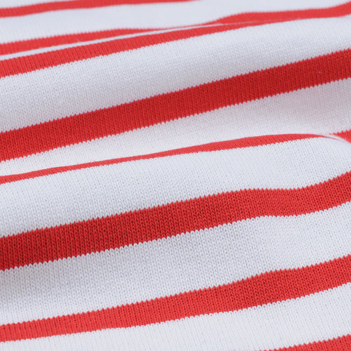 Oversize Stripe Long Sleeve Tee in White & Rouge