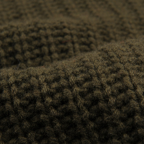 Scottish Wool Crew Neck Rib Stitch Sweater in Olive
