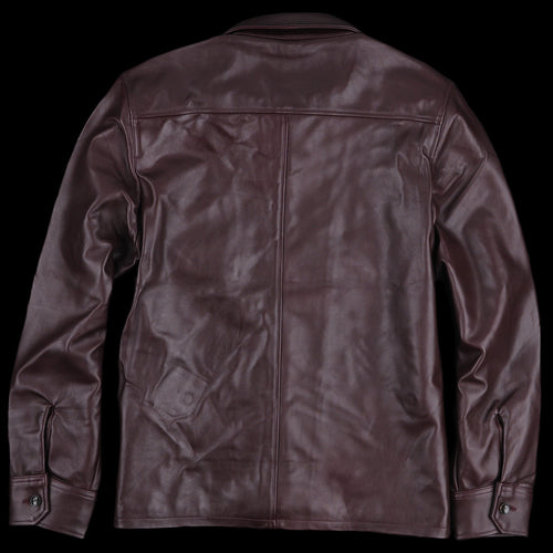 Leather Anthony Overshirt in Burgundy