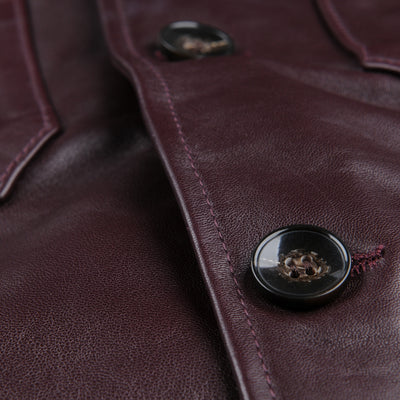 Officine Generale - Leather Anthony Overshirt in Burgundy
