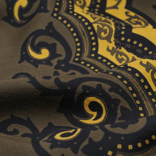 Italian Silk Printed Foulard in Olive & Gold