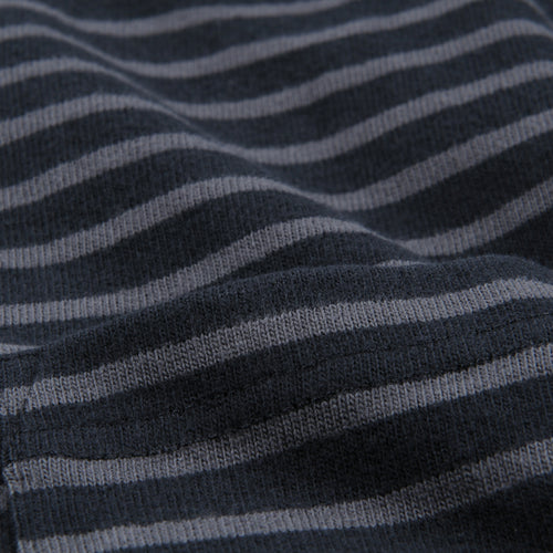 Striped Sueded Jersey Long Sleeve Crew in Black & Blue Graphite