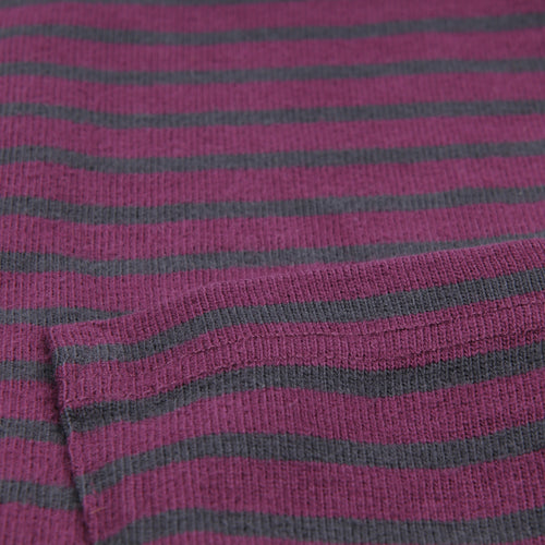 Striped Sueded Jersey Long Sleeve Crew in Port Royal & Blackberry