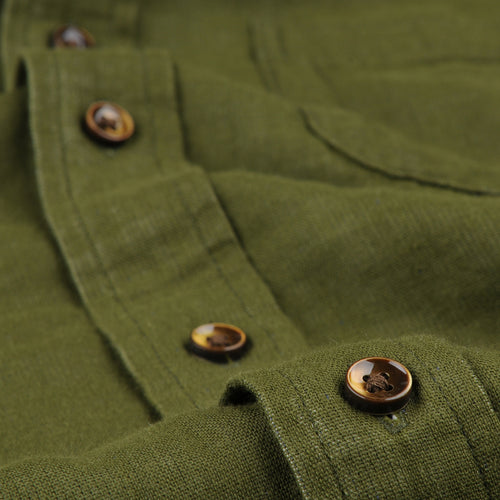Solid Heather Double Gauze Shirt in Dark Olive