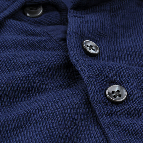 Double Knit Long Sleeve Polo in Navy