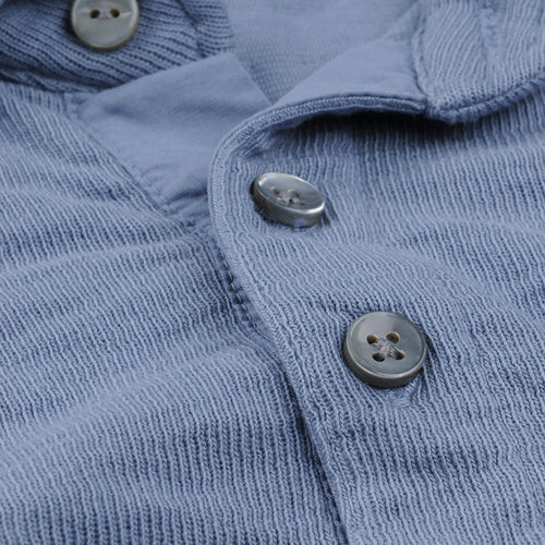 Double Knit Long Sleeve Polo in Blue Slate