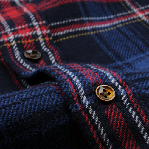Cabin Plaid Sport Shirt in Navy & Red