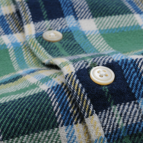 Brushed Plaid Flannel Shirt in Green
