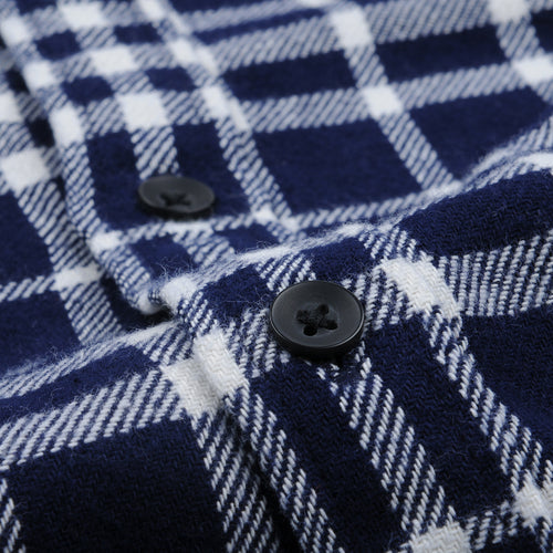 Indian Plaid Patch Flannel Shirt in Navy & White