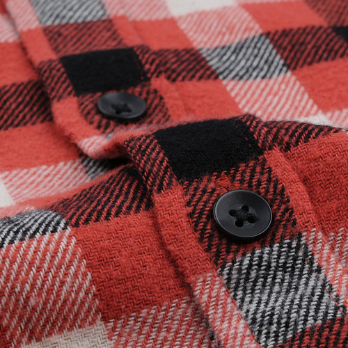 Brushed Plaid Flannel Shirt in Red