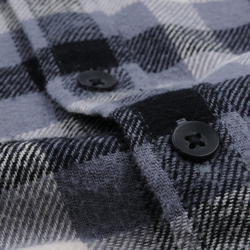 Brushed Plaid Flannel Shirt in Grey