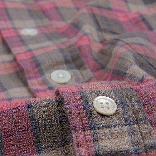 Herringbone Plaid Sander Shirt in Red Brown & Grey