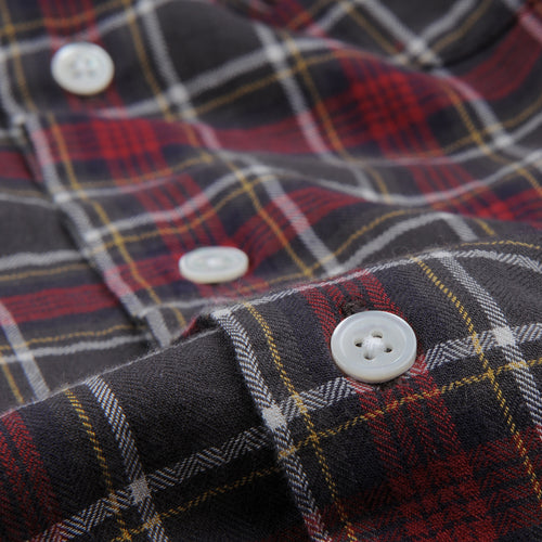 Herringbone Plaid Penn Shirt in Red Brown Yellow & White