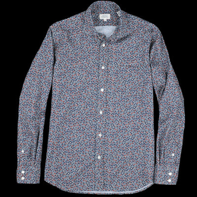 Hartford - Flowers Paul Shirt in Blue Green & Red on Beige