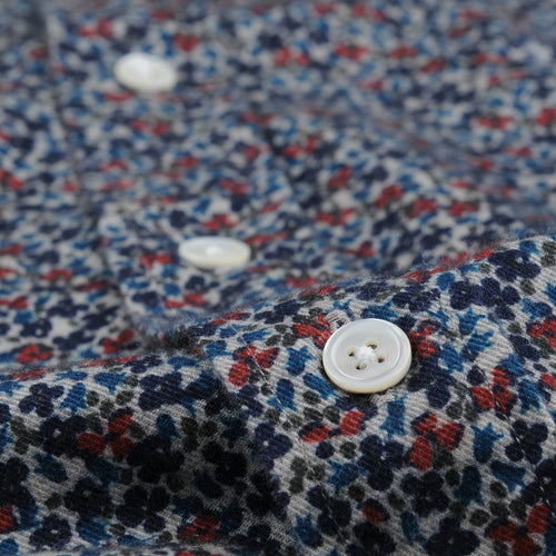 Flowers Paul Shirt in Blue Green & Red on Beige