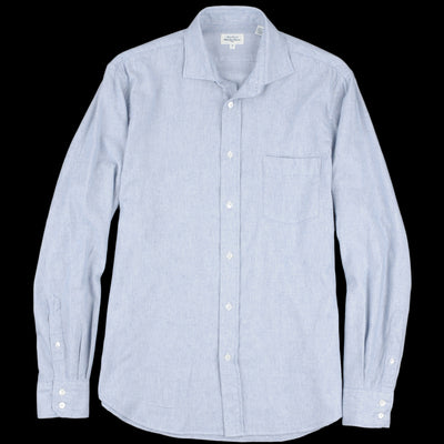 Hartford - Pin Point Flannel Paul Shirt in Blue & Chalk