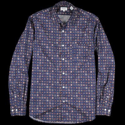 Hartford - Indian Print Penn Shirt in Brick & Grey on Blue