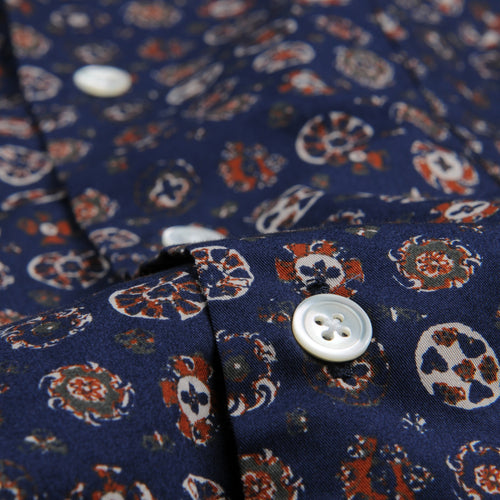 Indian Print Penn Shirt in Brick & Grey on Blue