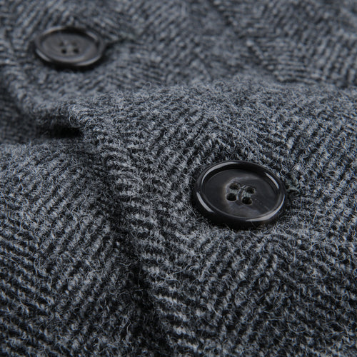 Herringbone Lambswool Jack Jacket in Grey